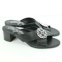 Brighton Alison Black Leather Sandals Heels Embellished Cross Front 8.5 Italy