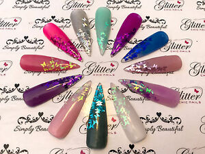BUTTERFLY SHAPED HOLOGRAPHIC RAINBOW AND METALLIC GLITTER FOR NAIL ART