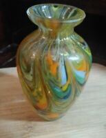 Vintage Glass  Multicolored Swirl Hand Blown Mini Bud Vase-Stunning