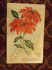 Vintage Postcard A Merry Christmas, Poinsettias
