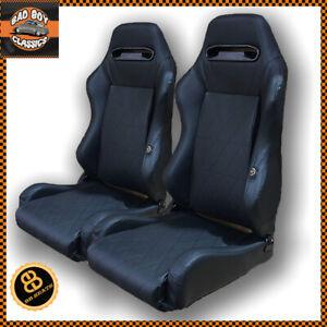 Pair BB3 Black Diamond Stitched Reclining Tilting Bucket Sports Seats UNIVERSAL