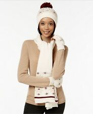 Charter Club Nordic 3pc Gift Set- Hat, Scarf, Gloves; Ivory- Tri-color (A2-04)