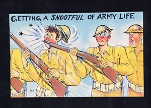 Vintage WWII Postcard Getting a Snootful Of Army Life Humor Soldiers Guns