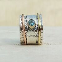 Blue Topaz 925 Sterling Silver Spinner Ring Meditation Statement Jewelry A61