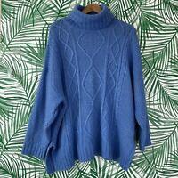 Aerie Blue Cable Knit Oversized Turtleneck Sweater Women's Size Medium