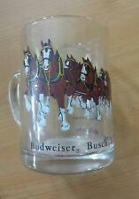 BUDWIESER CLYDESDALES PULLING WAGAN BEER MUG GLASS