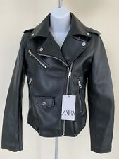 NWT ZARA FAUX LEATHER BIKER JACKET WOMAN Size S #C67 3046 743 800