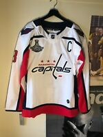 NWT Alex Ovechkin Washington Capitals Adidas Stanley Cup White NHL Jersey Mens L