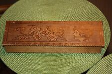 Antique Pyrography Wood Tie Box Victorian Woman
