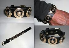 VERSACE BLACK AND GOLD MEDUSA HEADS ON A  HIP HOP BLING UNISEX BRACELET-NEW