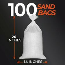 100 Empty SandBags 14x26 inches 1600 UVI - Poly Sand bags empty white with TIE