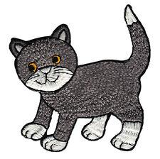 aa92 Graue Katze Kater Kätzchen Cat Aufnäher Bügelbild Patch Kinder 8 x 8,6 cm