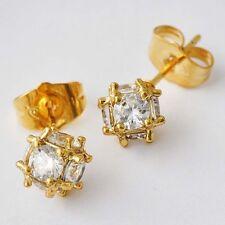 Gold Filled Stud Earrings 20*7mm Ball Clear Crystal Megic Womens