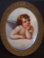 Antique Bronze~Putti Cherub Angel Figure~Porcelain Portrait Plaque HP~KPM Style