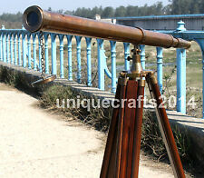 ANTIQUE VINTAGE BRASS SPYGLASS NAUTICAL TELESCOPE WITH WOODEN TRIPOD STAND DECOR