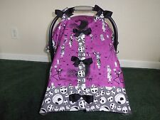 **NIGHTMARE BEFORE CHRISTMAS** w/bows  Handmade Baby Car Seat Canopy-Cover