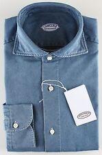 NWT 380$ VINCENZO DI RUGGIERO SHIRT blue denim full handmade Italy 39 15 1/2