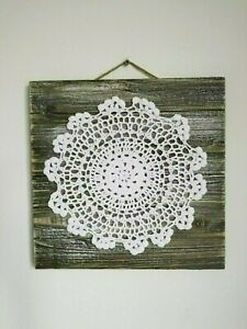 "Handmade Crocheted round pattern on wood base 12"" x 12"", Wall Art Decor"
