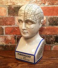 "Porcelain L.N. Fowler Phrenology Scientific Psychology 12"" Bust Head"