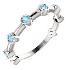 Aquamarine Bezel Set Bar Ring In Platinum