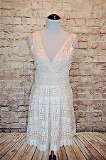 Modcloth Boldest Geometric in the Book Dress NWOT L White tan crochet surplice