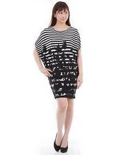 SPECCHIO PLEATS Black & White Stripe floral print Tunic dress size 2-28.