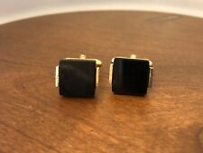 ANSON GOLD TONE CUFF LINKS BLACK ONYX Lucite