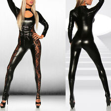 Women PVC Catsuit Faux Leather Dress Up Lace Lingerie Bodysuit Jumpsuit Clubwear