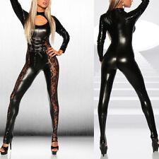 Women PVC Catsuit Faux Leather Dress Up Lace Lingerie Bodysuit Jumpsuit Clubwear