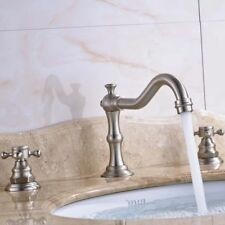 2 Handle Brushed Nickle Bathroom Faucet Widespread Basin Mixer Spout Tap 3 Holes
