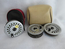 HARDY VISCOUNT 130 MK11 REEL + 2 S/SPOOLS AND LINES AND POUCHES