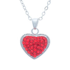 Red Crystal Pave Heart Pendant Necklace In Silver Tone