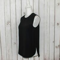 VINCE Women's Zip Shoulder Tank Blouse Solid Black Polyester Size Small $195