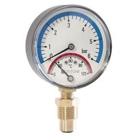 """80mm 1,6 - 6 bar 120C Thermo Pressure Gauge 1/2"""" BSP Side Entry Thermomanometer"""