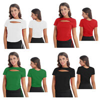 Women's Sexy O-Neck Hollow Out Crop Tops Ruffle Short Sleeves T-Shirt Club Wear