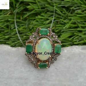 Emerald Opal Gemstone Ring Pave Diamond Jewelry 925 Solid Silver Birthday Gift