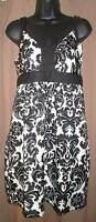Ann Taylor LOFT white black damask sleeveless dress misses size 4P 4 Petite