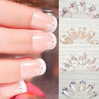 24pcs Artificial Nail Tips Full French False Nails Salon Manicure Finger DIY Art