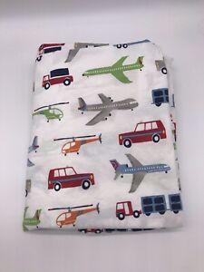 Pottery Barn Kids PBK Twin Bed Flat Sheet Brody Transportation Planes Trucks J7