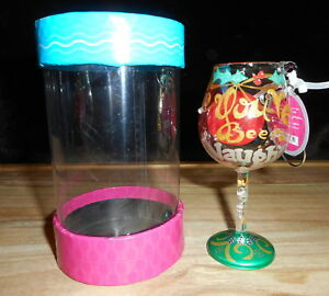 LOLITA MINI WINE GLASS HAND PAINTED CHRISTMAS ORNAMENT YOU'VE BEEN NAUGHTY.. NEW
