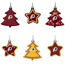 Washington Redskins Shatterproof TREES & STARS Christmas Tree Ornaments 6 pack