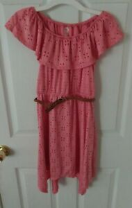 EUC Girls Fall Dress Off Shoulder Pink Size 10 By Justice With Belt Easter