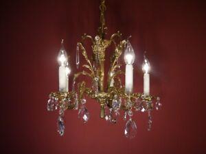 "SMALL FINE HEART SHAPE CRYSTAL BRASS CHANDELIER LAMP 5 LIGHT FRENCH EUROPE  Ø18"""