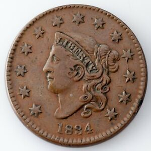 1834 Large Cent VF Condition, All Brown Color, Nice Detail on Both Sides