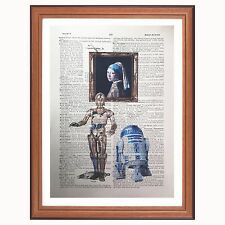 R2d2 C3Po Vs Johannes Vermeer dictionary art print Star Wars Pearl Earring