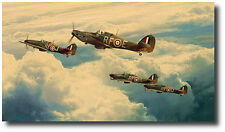 Undaunted by Odds by Robert Taylor - Hurricane Mk1's  - With 3 pilot Signatures