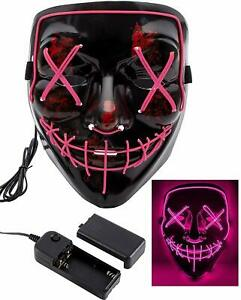 Máscara la Purga luz led careta Discoteca noche disfraz Halloween fiestas Fucsia