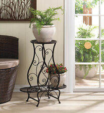 Victorian shabby iron Flower pot shelf outdoor pedestal Plant Stand curio table