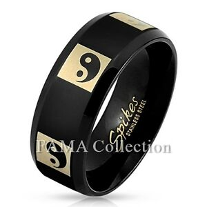 Stylish FAMA 8mm Black Yin Yang Stainless Steel Ring Band Size 9-13