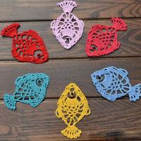 4Pcs/Lot Vintage Hand Crochet Cotton Lace Doilies Cup Coasters Wedding 6x10cm